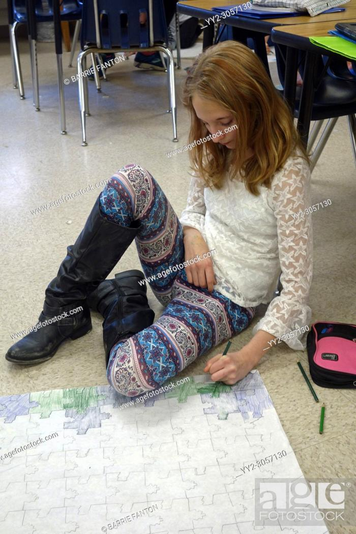Stock Photo: 6th Grade Girl Working on Pattern Project, Wellsville, New York, USA.