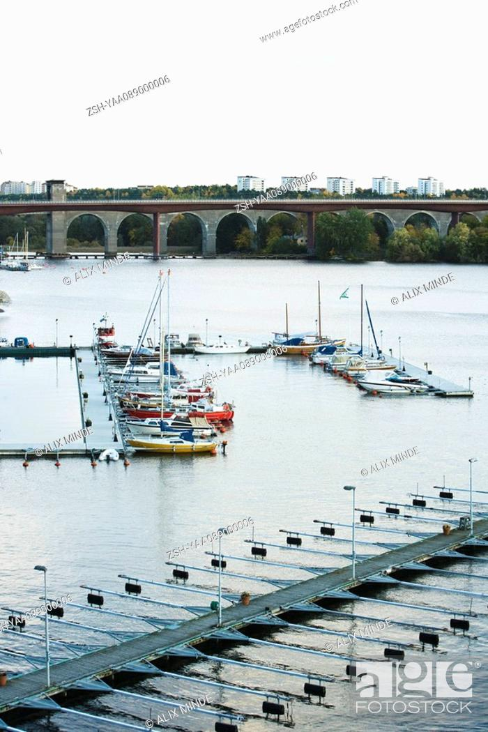 Stock Photo: Sweden, Stockholm, boats docked in marina.