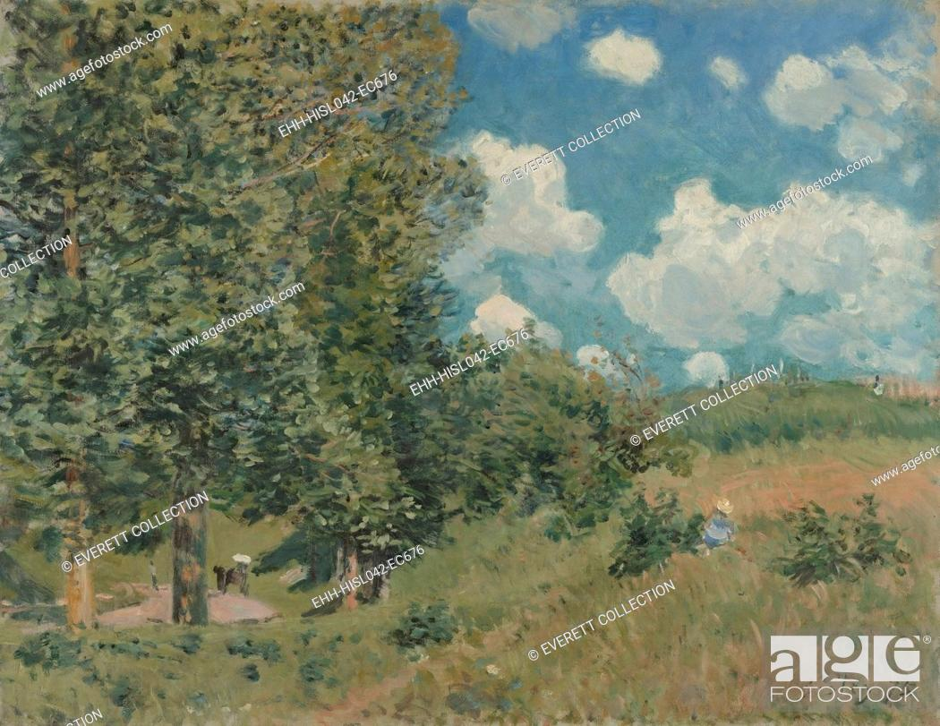 Stock Photo: Road from Versailles to Saint-Germain, by Alfred Sisley, 1875, French impressionist oil painting. He painted this plein-air landscape in the bright light of a.