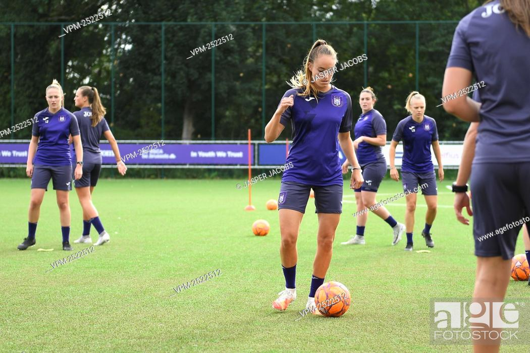 Stock Photo: Anderlecht new player Tessa Wullaert pictured during a training session of RSC Anderlecht Women, Tuesday 28 July 2020 in Brussels.