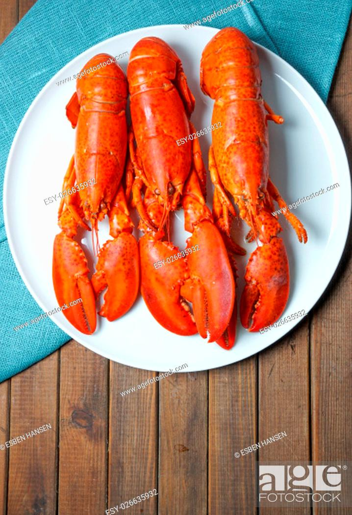 Stock Photo: Cooked red Lobsters served on white plate ready for eating.
