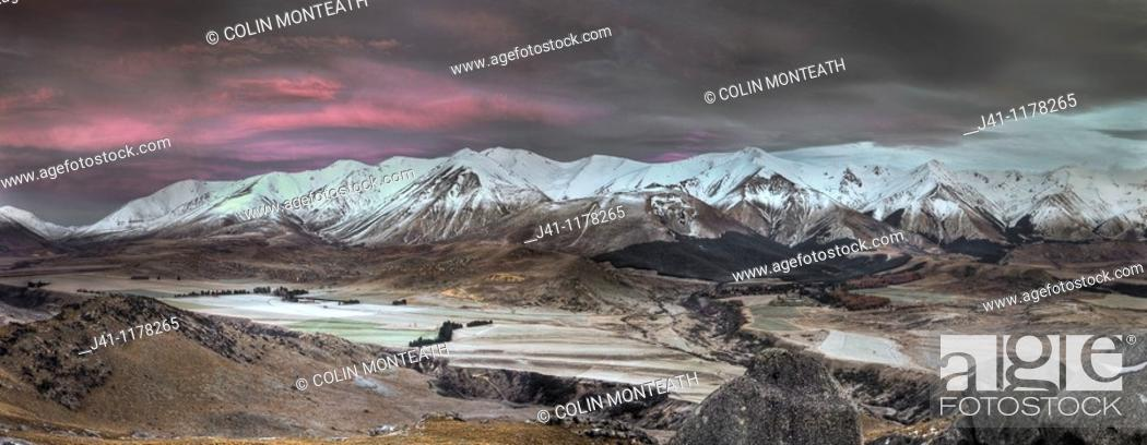 Stock Photo: Craigieburn Range, Frosty dawn, Castle Hill farm and village, Castle Hill basin, Canterbury, New Zealand.