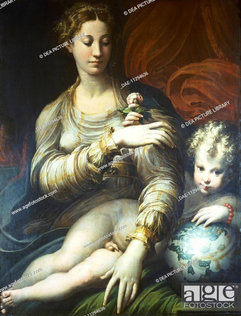 Stock Photo   Madonna Of The Rose, Ca 1530, By Francesco Mazzola, Known As  Parmigianino (1503 1540), Oil On Canvas, 109x88 Cm. Dresda