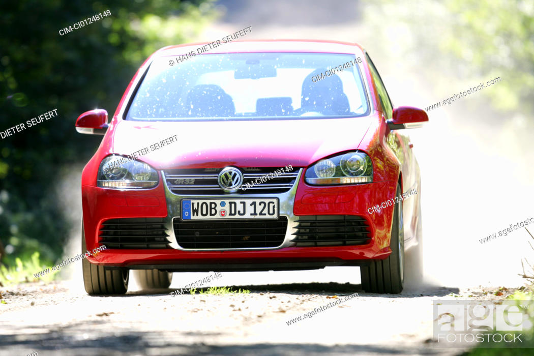 Vw Volkswagen Golf R32 Model Year 2005 Red Driving Diagonal