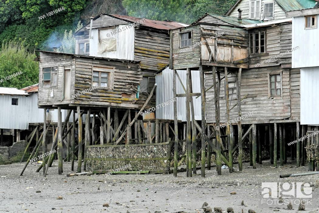 Lovely Stock Photo   Palafitos Homes, Houses On Stilts In The Poorer Areas Of  Castro, Chiloe Island, Lake District, Chile, South America