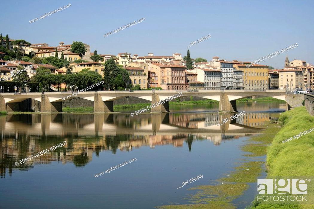 Stock Photo: Bridge across the Arno River, Florence, Tuscany, Italy.