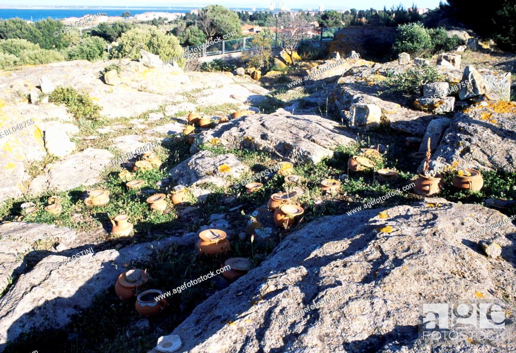 Stock Photo: Ash urns, Tophet of the ancient city of Sulci, Sardinia, Italy. Punic civilisation.