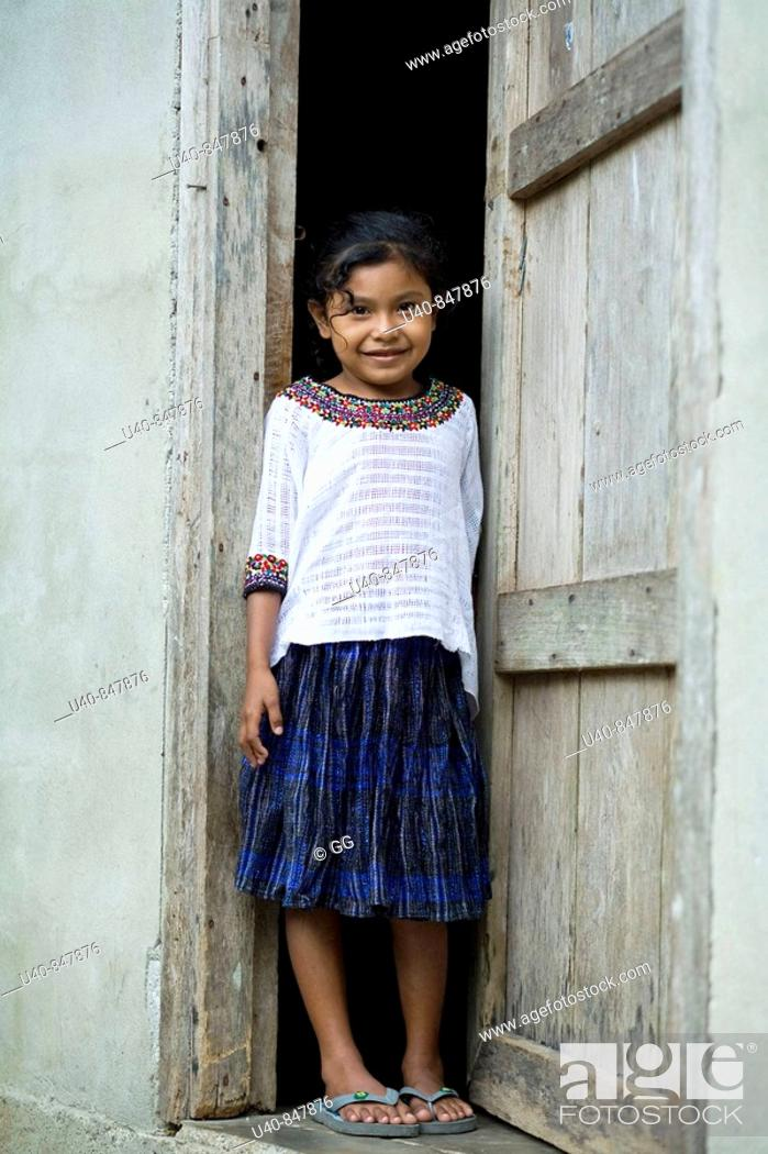 Stock Photo: Guatemala, Rio Dulce, 7 year old girl posing.