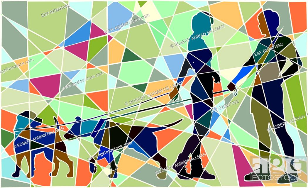 Stock Vector: Editable vector colorful mosaic illustration of a man and woman and their pet dogs interacting.