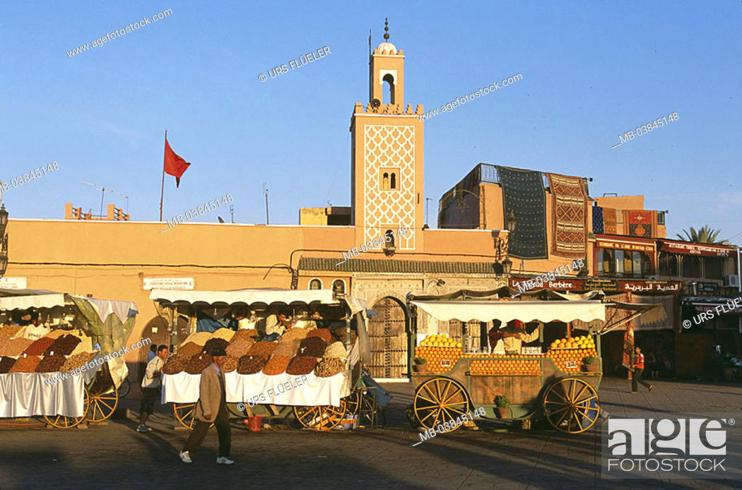 Stock Photo: Morocco, Marrakesch, Jema El Fna, mosque, market place, Medina, Jemaa-El-Fna-Platz, buildings, construction, minaret, forecourt, market-stands, booths, sale.