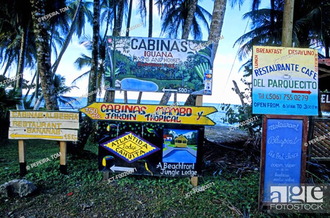 Stock Photo: Costa Rica, Caribbean coast, Cahuita National Park, hotels and restaurants advertising.