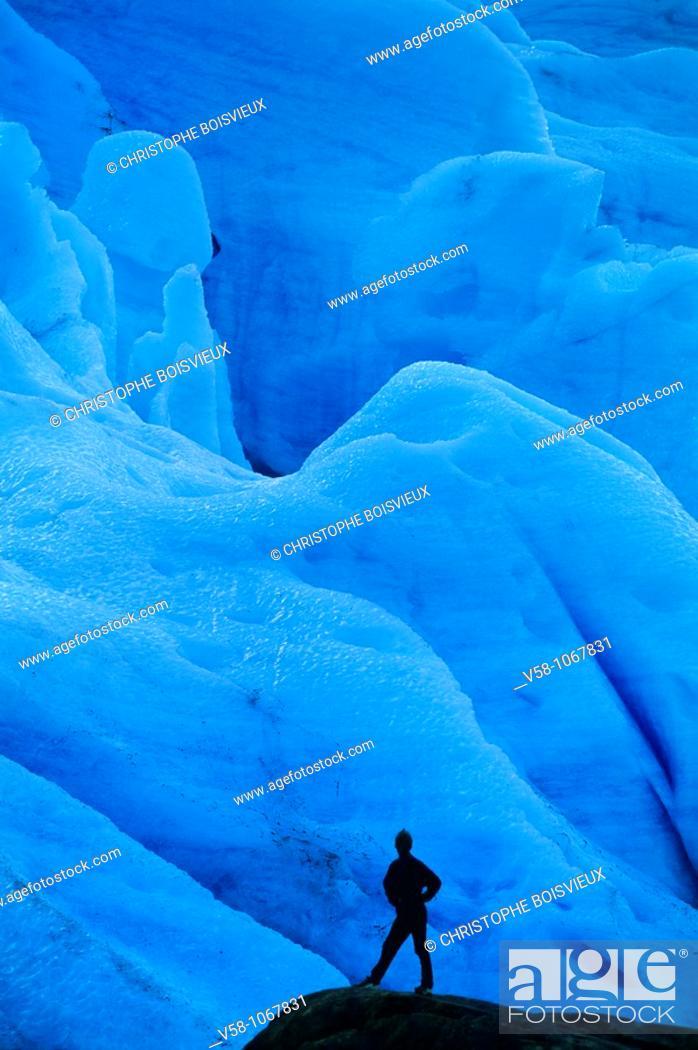 Stock Photo: Norway, Nordland, Svartisen Glaciar.