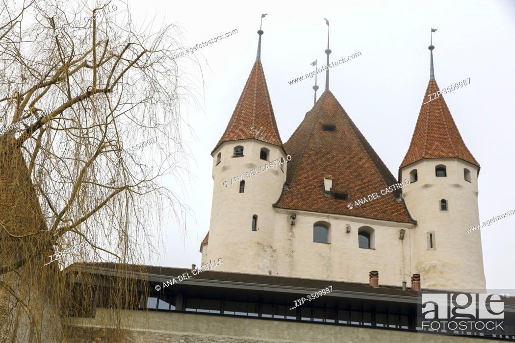 Stock Photo: Thun, Switzerland - December 6, 2015: Castle view in the old town. Thun is a medieval city in the administrative district of Thun in the canton of Bern.