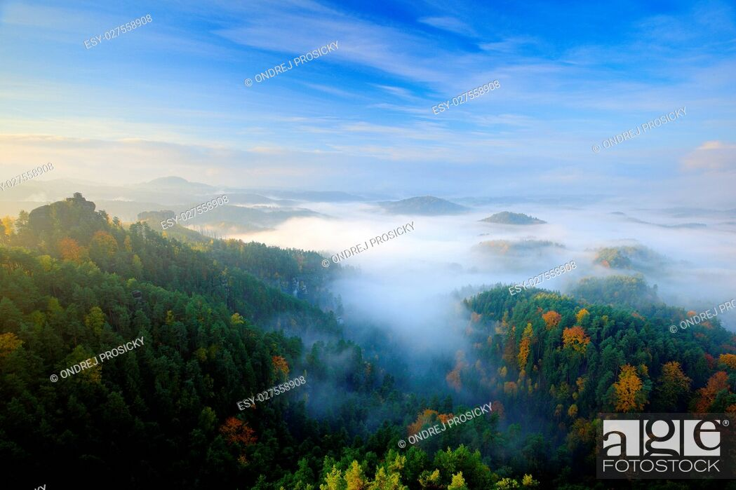 Stock Photo: Czech typical morning autumn landscape.