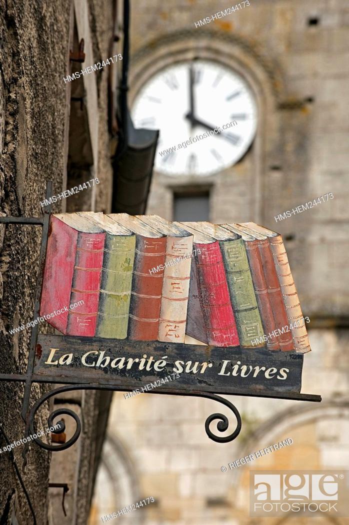 Stock Photo: France, Nievre, La Charite sur Loire, city of books.