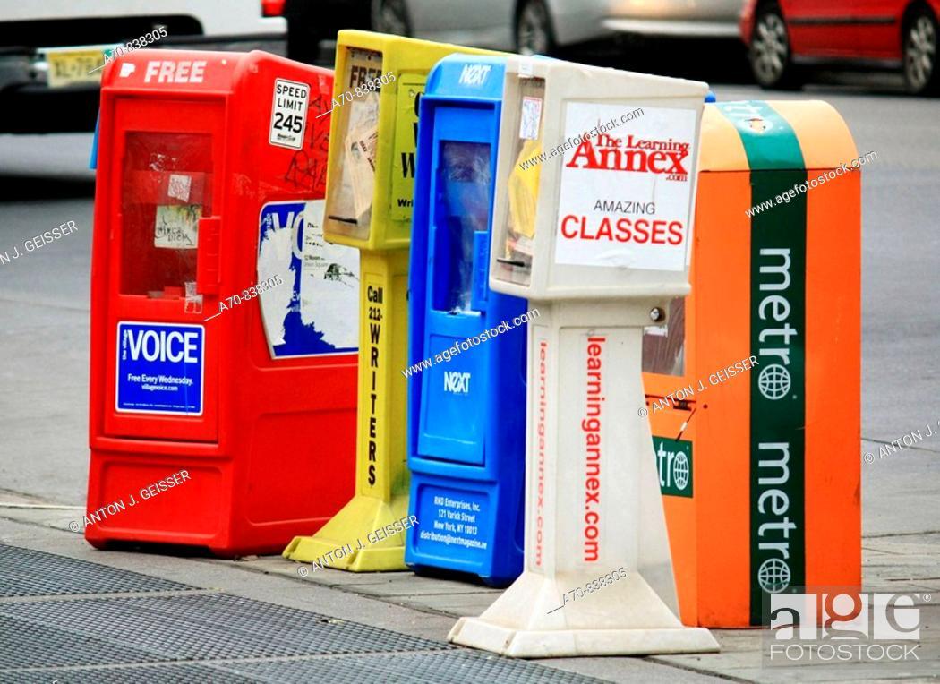 Stock Photo: Newspaper vending Machines New York City.