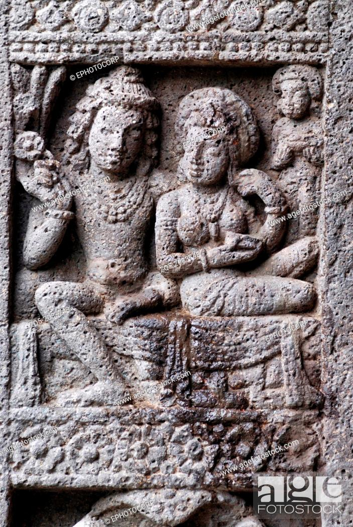 Stock Photo: Cave 27: King and Queen, Female Figure. Ajanta Caves, Aurangabad, Maharashtra, India.