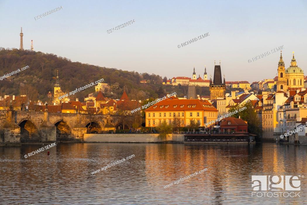Stock Photo: Panorama of Hradcany at sunrise, Czech Republic.