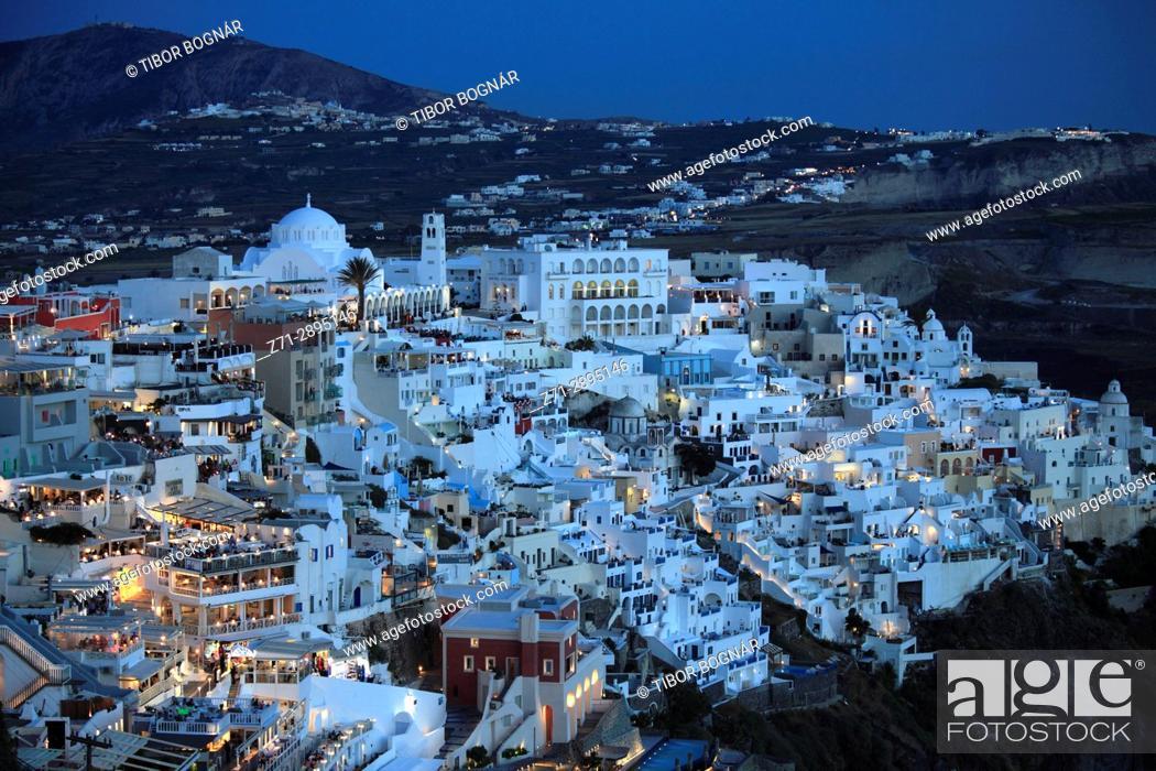 Stock Photo: Greece, Cyclades, Santorini, Fira, skyline, general view, .