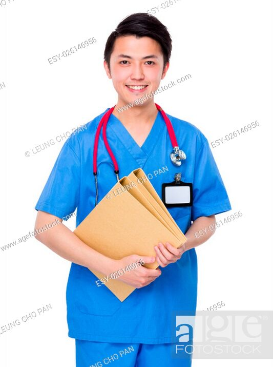 Stock Photo: Doctor hold with folder.