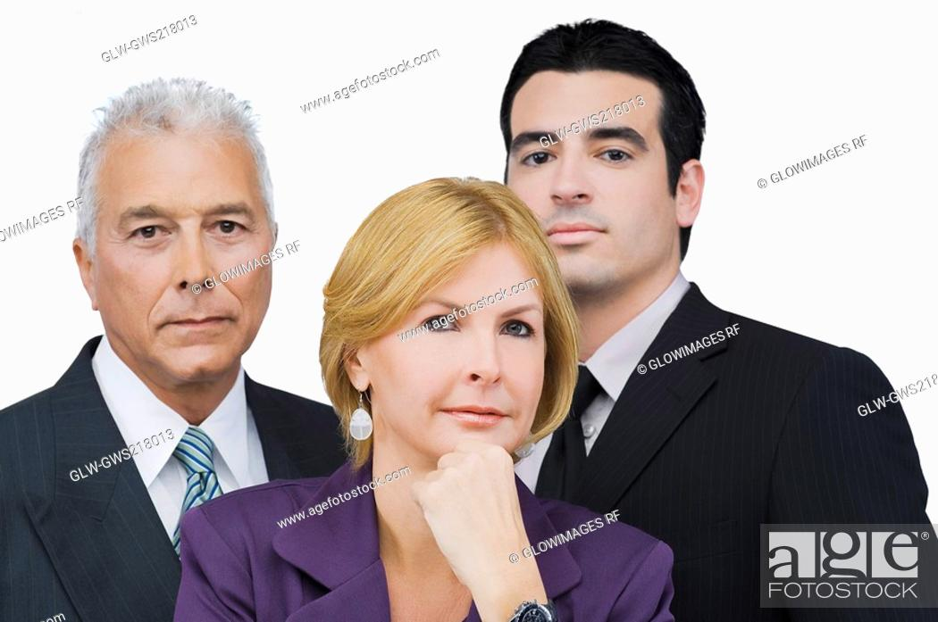 Stock Photo: Portrait of two businessmen and a businesswoman.
