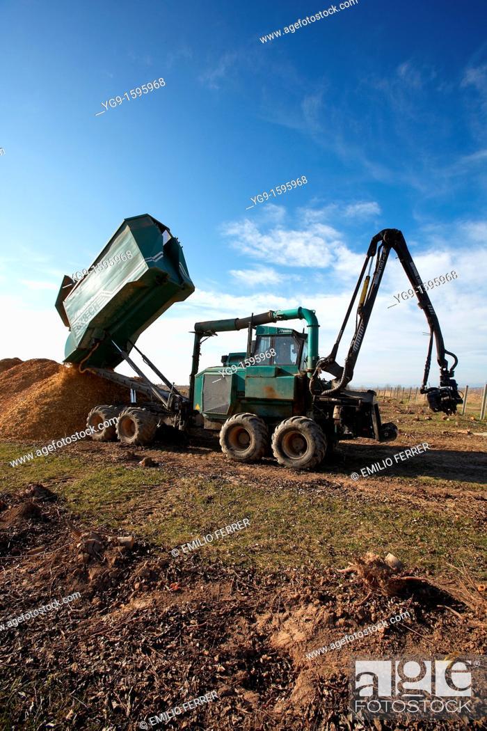 Stock Photo: Unloading crush wood from a biomass machine  LLeida  Spain.