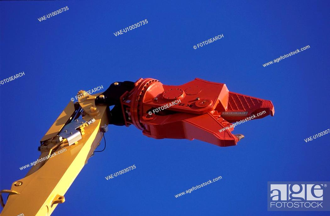 Stock Photo: Detail of pulveriser attachment on hydraulic arm.