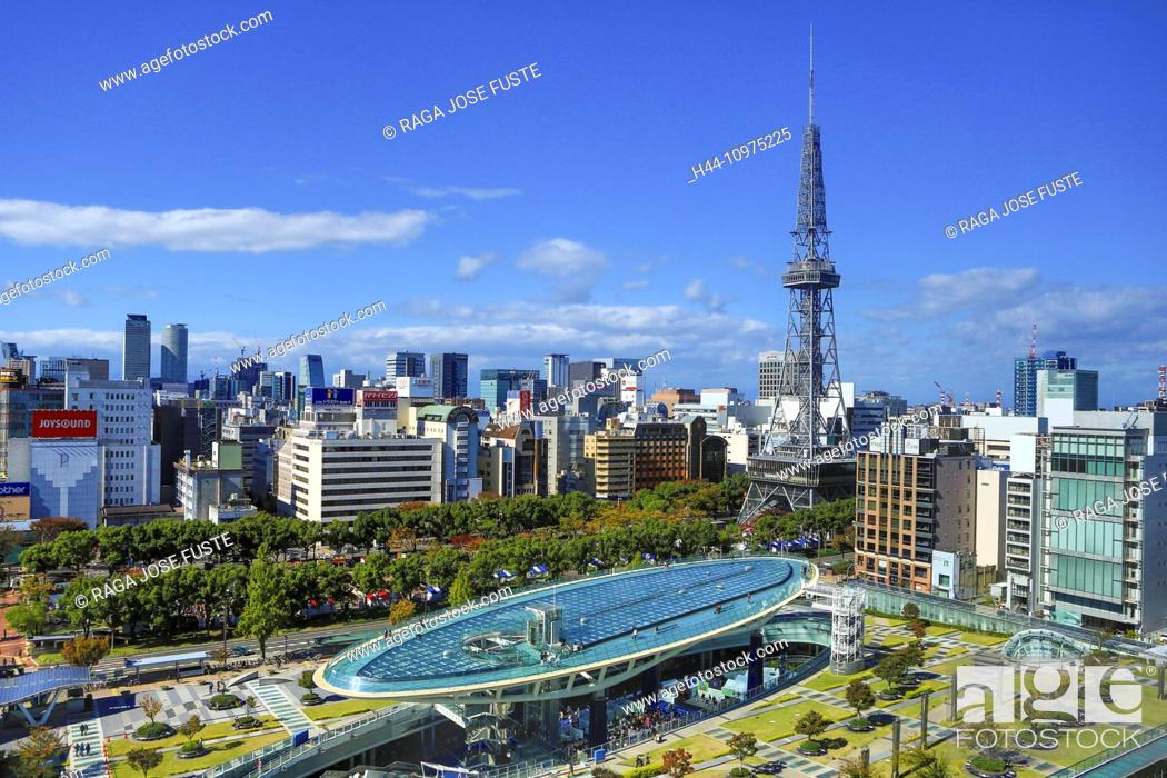Stock Photo: District, Japan, Asia, Cityscape, Nagoya, City, Sakae, TV Tower, aichi, architecture, colourful, downtown, fall, no people, skyline, square, touristic, tower.