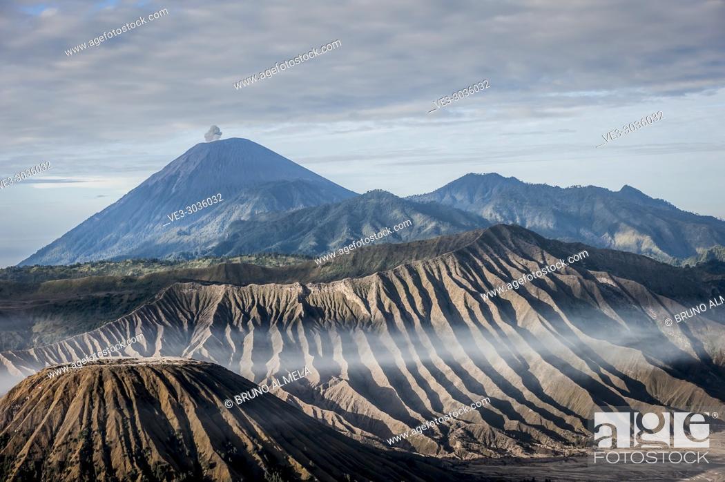 Stock Photo: View of Mt. Semeru, Batok and Widodaren in Bromo Tengger Semeru National Park (East Java, Indonesia).