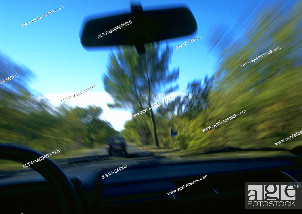 Stock Photo: View from inside of car in motion.