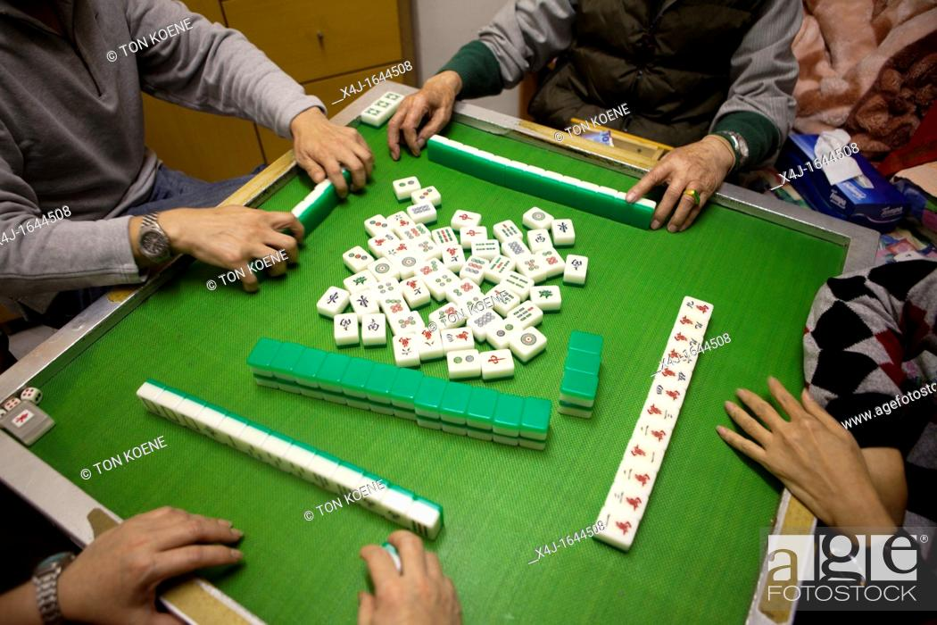 Stock Photo: majong game in China.