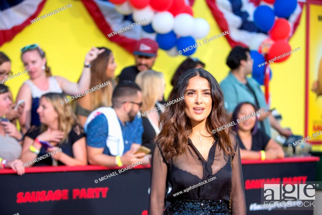 Stock Photo: Salma Hayek attending the Los Angeles premiere of Sony's 'Sausage Party' at the Regency Village Theatre in Westwood, California Featuring: Salma Hayek Where:.