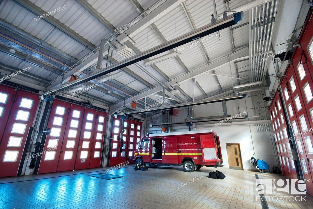 Stock Photo: Marshes End Fire Station, Dorset Fire and Rescue Service, Poole fire engine garage.