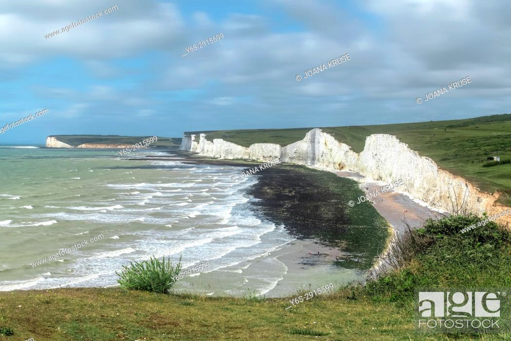 Stock Photo: Birling Gap, Seven Sisters, South Downs, East Sussex, England, UK.