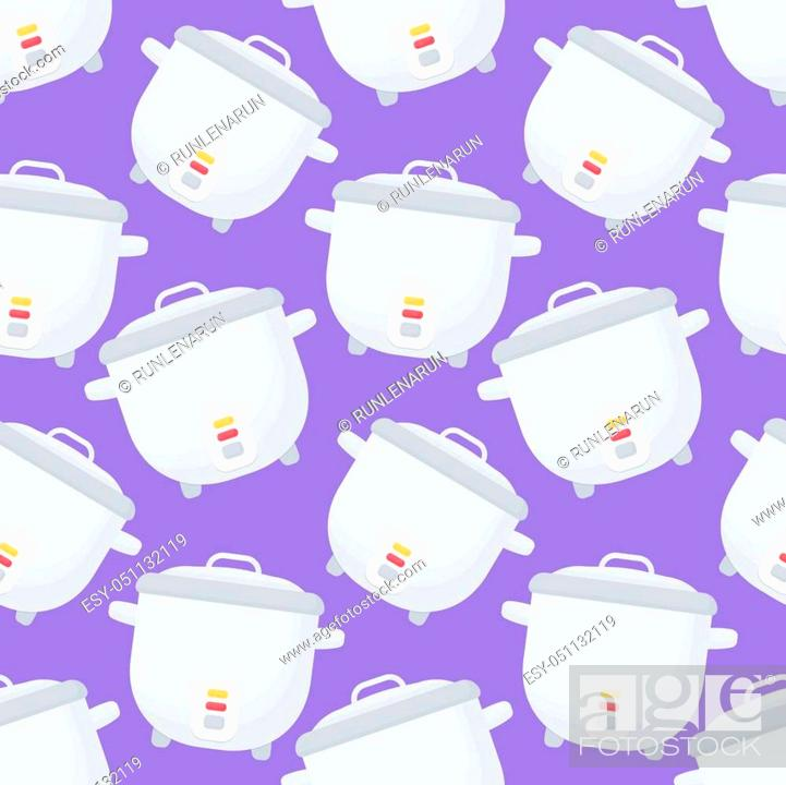 Rice Cooker Vector Seamless Pattern Flat Design Of Kitchen