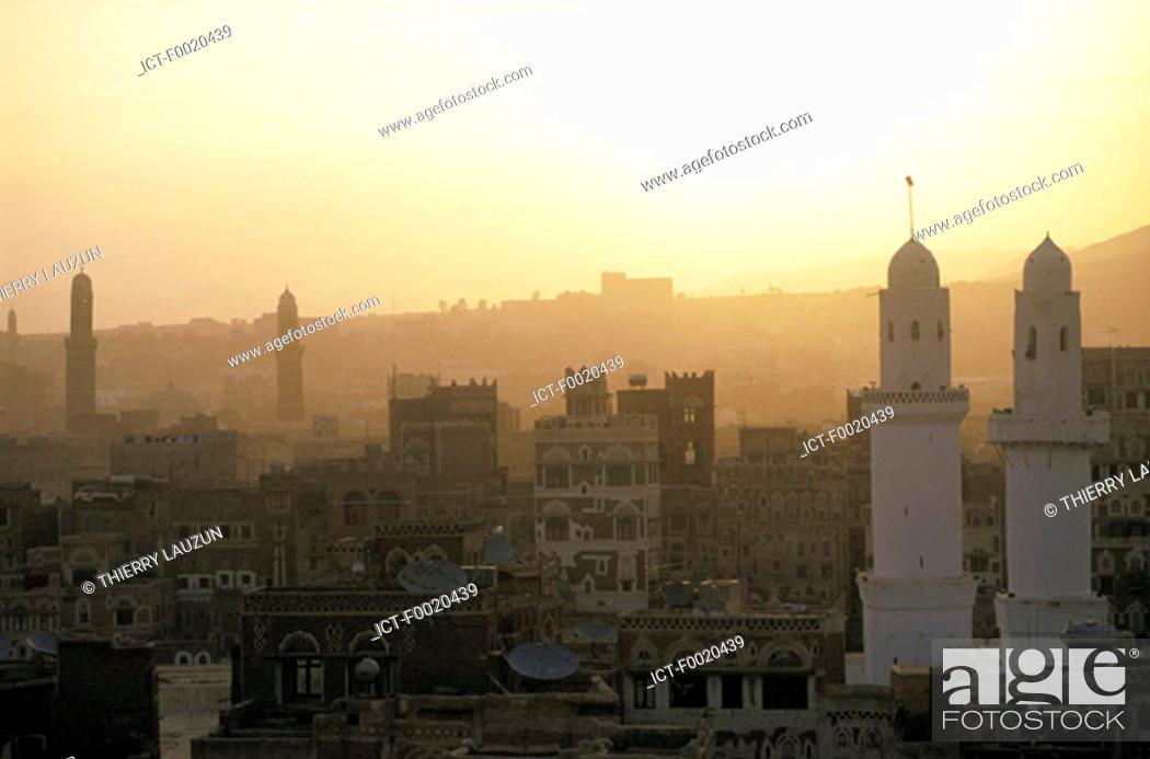 Stock Photo: Yemen, Sanaa, city and Great Mosque.