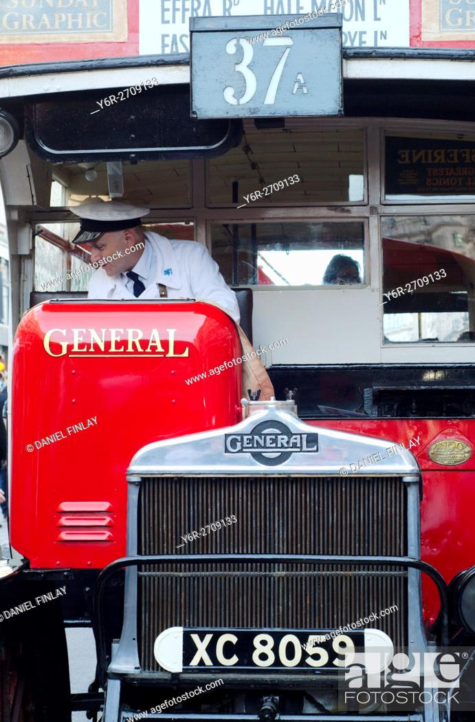 Stock Photo: An early 20th century London bus seen on display in Regent Street in the heart of the city during the annual Motor Show.