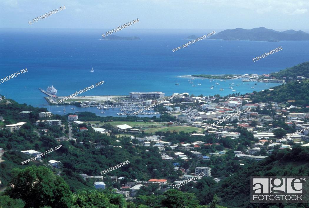 Stock Photo: Tortola, Road Town, British Virgin Islands, Road Bay, Caribbean, BVI, Scenic view of Road Town on the island of Tortola on the Caribbean Sea.
