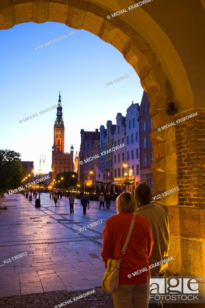 Stock Photo: Old Town of Gdansk with historical town hall tower.