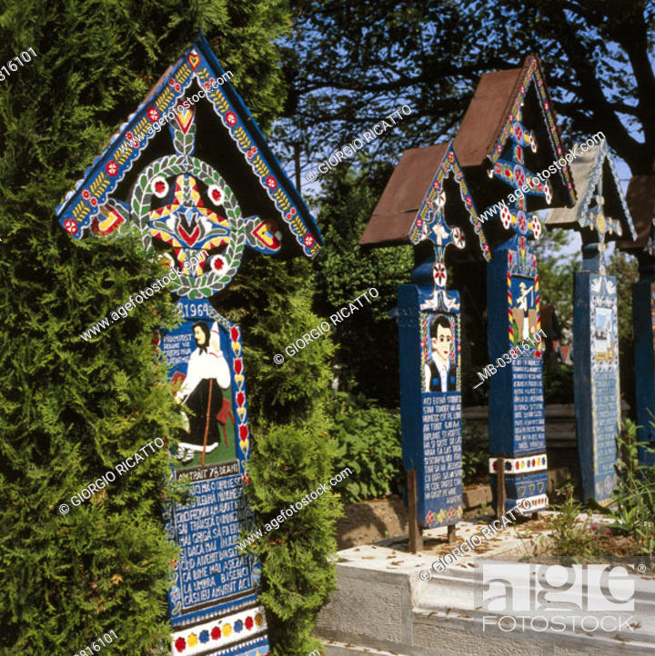 Stock Photo: Romania, Sapanta, 'funny graveyard',  Diggers, detail,   Europe, southeast Europe, sight, culture, belief, religion, Christianity, crossed, funeral blackboards.