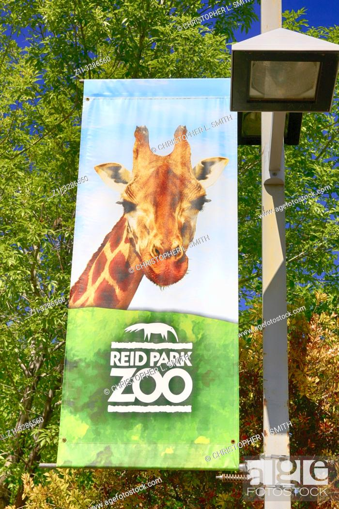 Stock Photo: Banner hanging outside of Reid Park Zoo in Tucson, AZ.