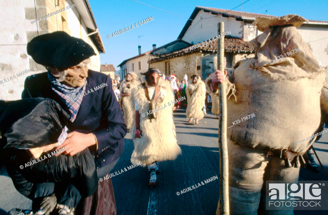 Stock Photo: 'Markitos', carnival figure. Zalduendo. Álava province. Spain.