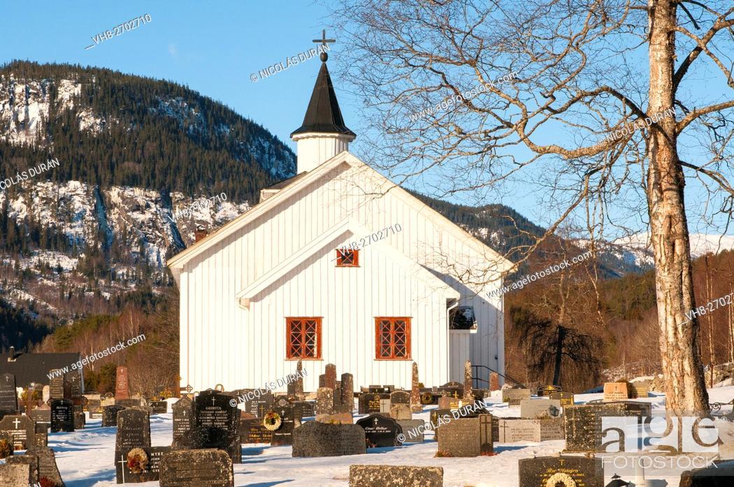 Stock Photo: Church and cemetery in Atra. Tinnsja lake. Norway.