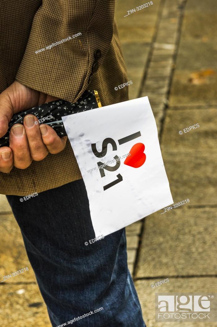 Stock Photo: man holding a -i love stuttgart 21- flag, stuttgart, baden-wuerttemberg, germany.