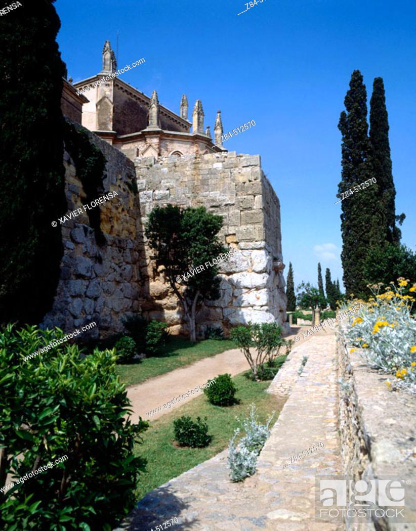 Stock Photo: Church of San Magín. Minerva Tower. Tarragona. Spain.