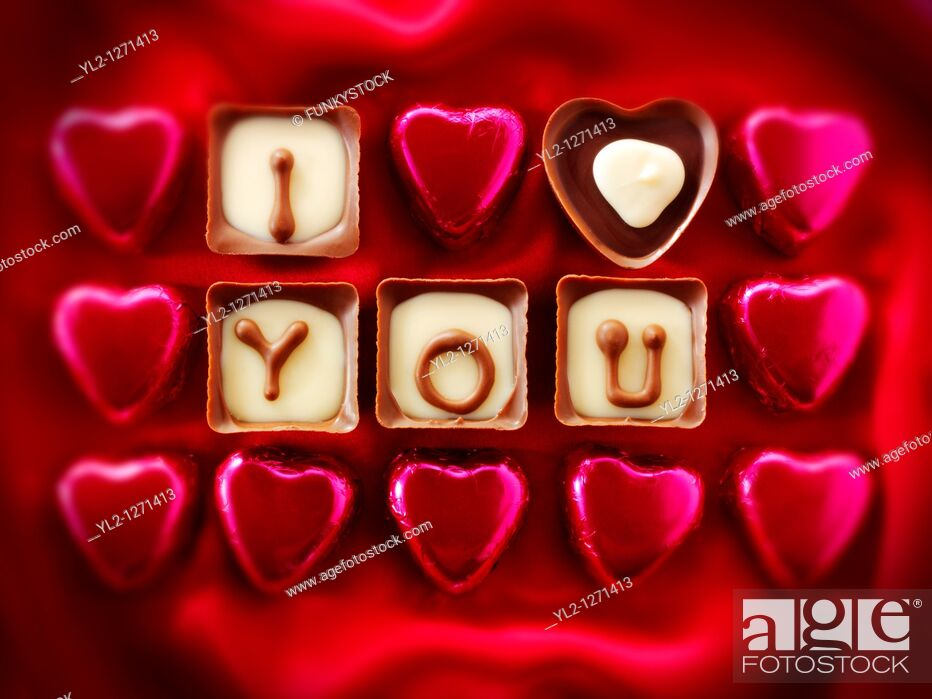 Stock Photo: 'I Love You' Valentines or Mothers Day Chocolates.