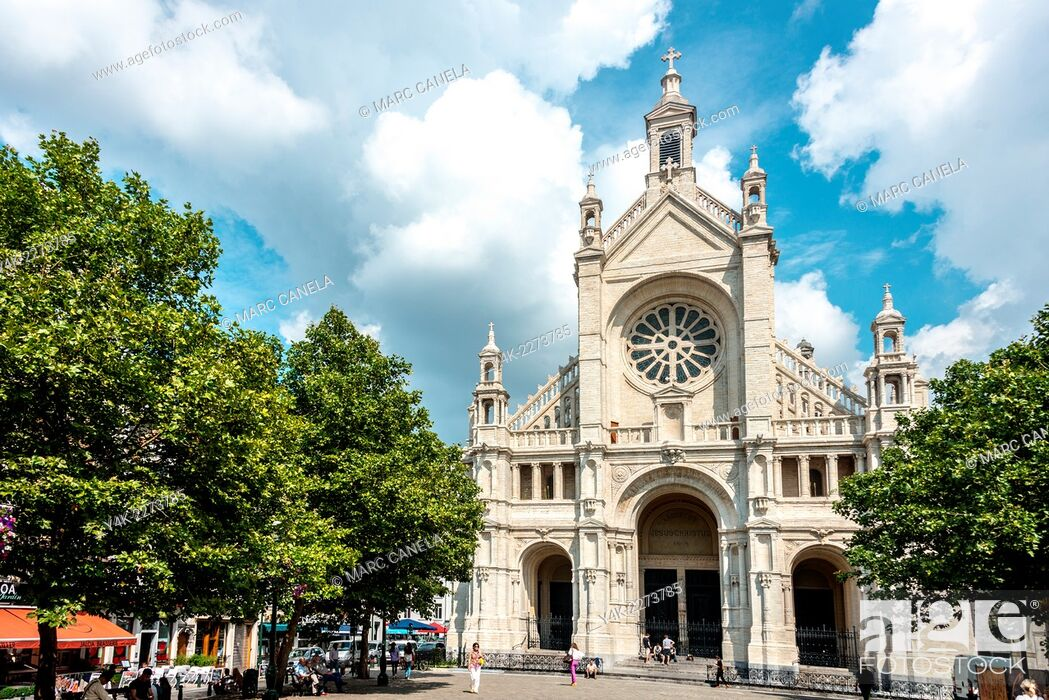 Stock Photo: Church of Sainte-Catherine in neo-Renaissance style, Place Sainte-Catherine, Brussels, Belgium.