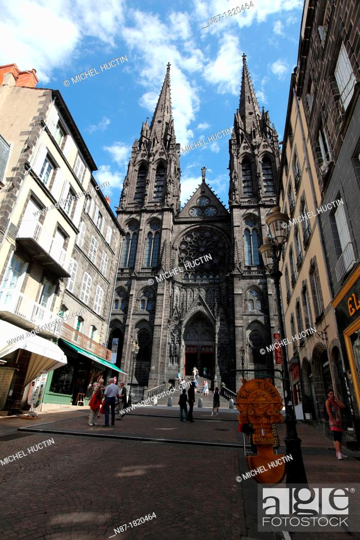 Stock Photo: Cathedral and street Clermont Ferrand, France.