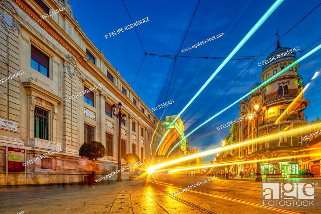 Stock Photo: Light trails of a streetcar on Constitution Avenue, Seville, Spain.