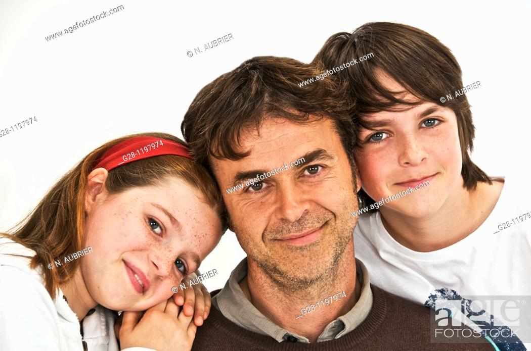 Stock Photo: farther daughter and son, portrait of a happy family.
